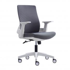 BF8950 Πολυθρόνα Γραφείου Άσπρη / Mesh - Ύφασμα Γκρι 64x64x98/110cm ΕΟ529,30