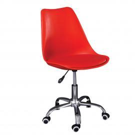 MARTIN καρέκλα γραφείου PP/PU Κόκκινο/Μοντ.ταπετσαρία 51x55x81/91cm ΕΟ201,5W