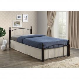 ARAGON κρεβάτι Μέταλλο μαύρο/Ξύλο καρυδί 125x210x76 (Στρώμα 120x200)cm Ε8096,0