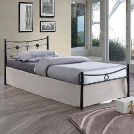 DUGAN κρεβάτι μονό Μεταλλικό Βαφή Σφυρήλατη Μαύρη 96x205x83 (Στρώμα 90x200) cm Ε8068